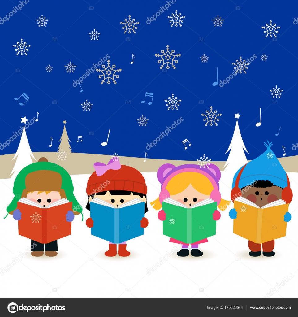 Gruppe von Kinder singen Weihnachtslieder — Stockvektor © stockakia ...