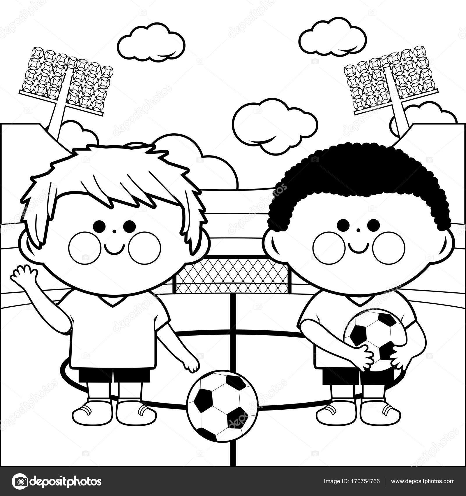 Jugadores de fútbol de los niños en un estadio de página para ...