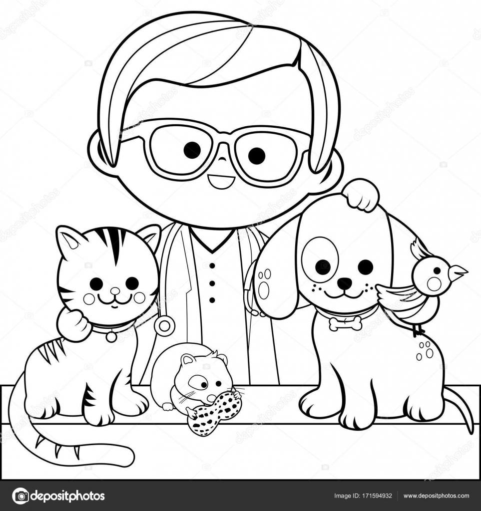 Hayvan Hastalıklarıyla Ilgili Ve Evcil Hayvan Boyama Kitabı Sayfası