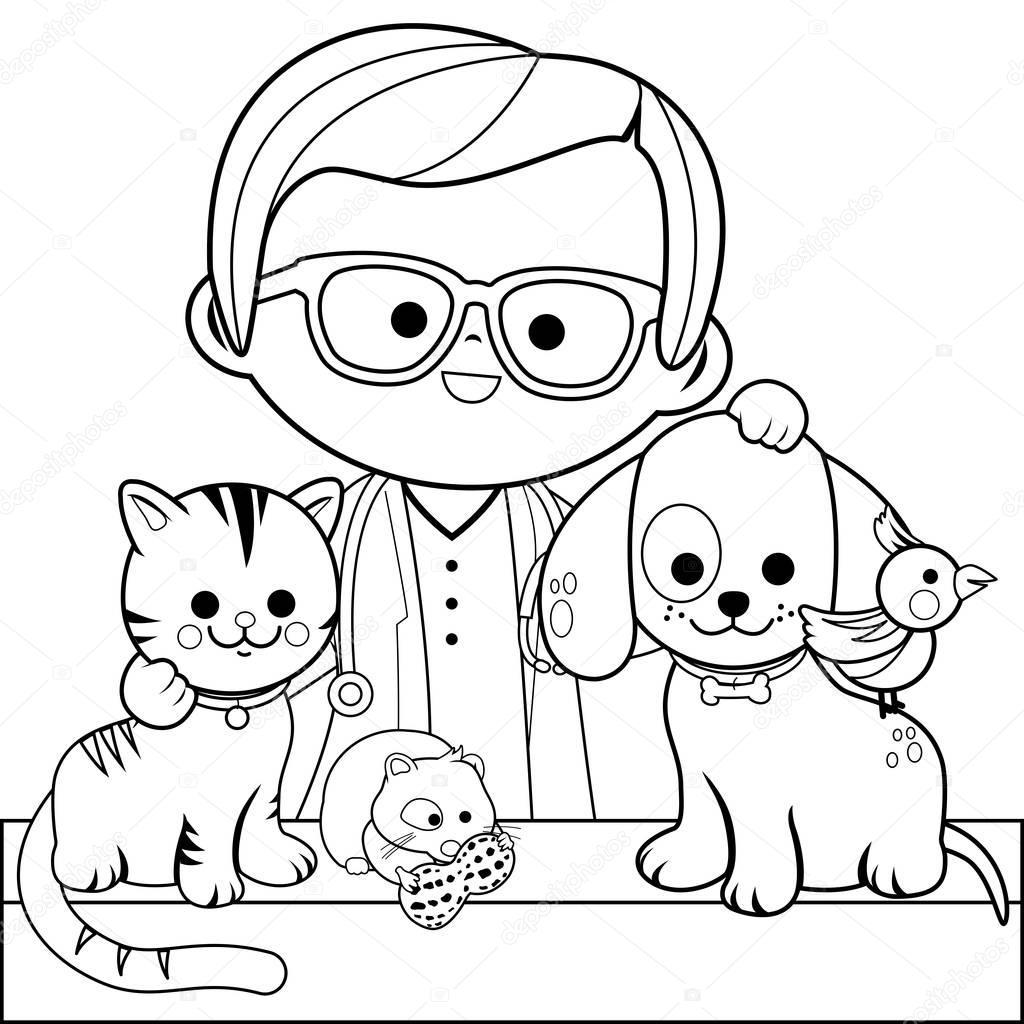 dierenarts en huisdieren boek kleurplaat stockvector