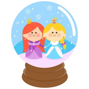 Beautiful princesses in a snow globe