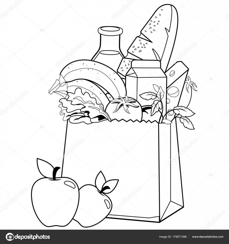 Yiyecek Ile çanta Boyama Kitabı Sayfası Stok Vektör Stockakia