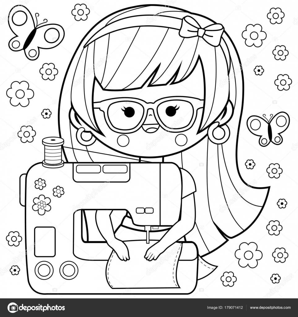 Costurera de mujer utilizando su máquina de coser. Página de libro ...