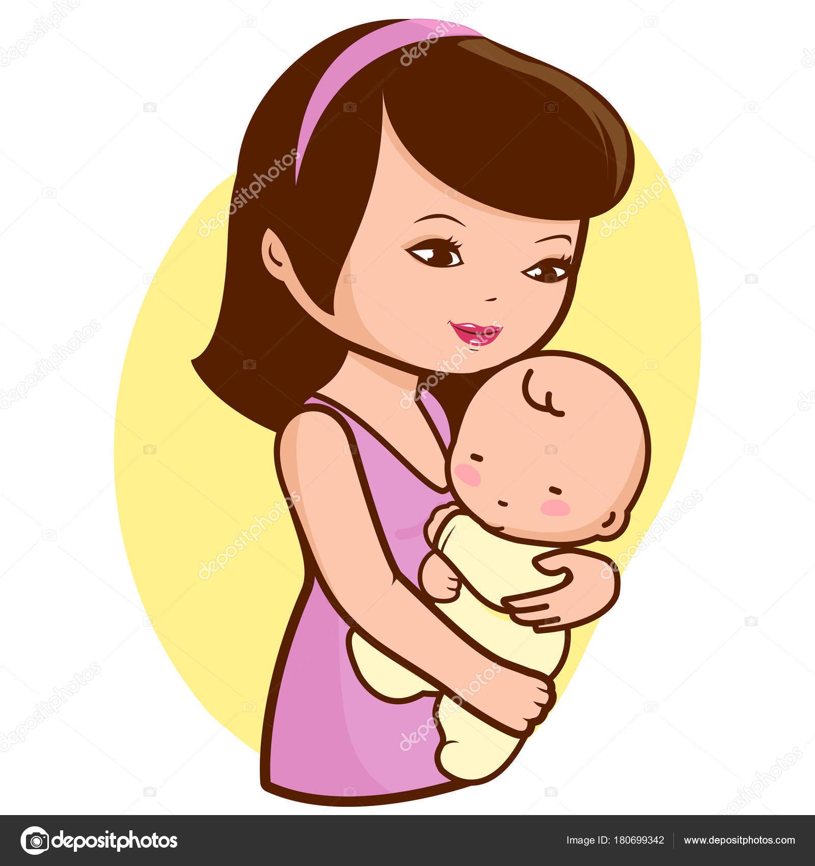 Mother Holding Baby Stock Vector C Stockakia 180699342