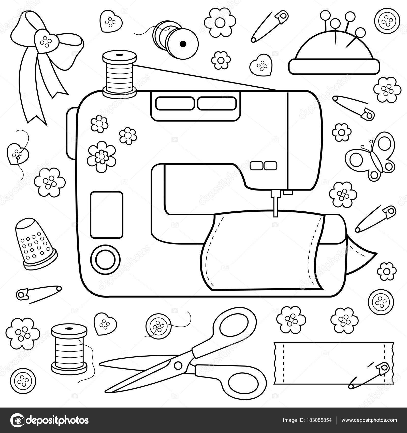 Herramientas de costura de proyectos y equipos. Página de libro para ...