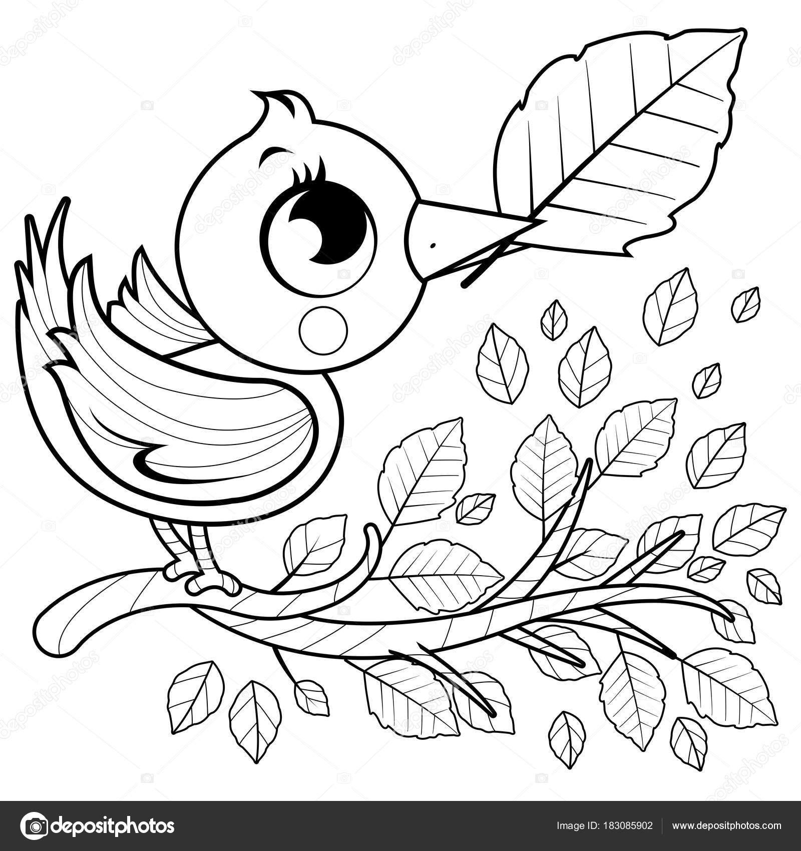 Pájaro en una rama con hojas. Página de libro para colorear ...