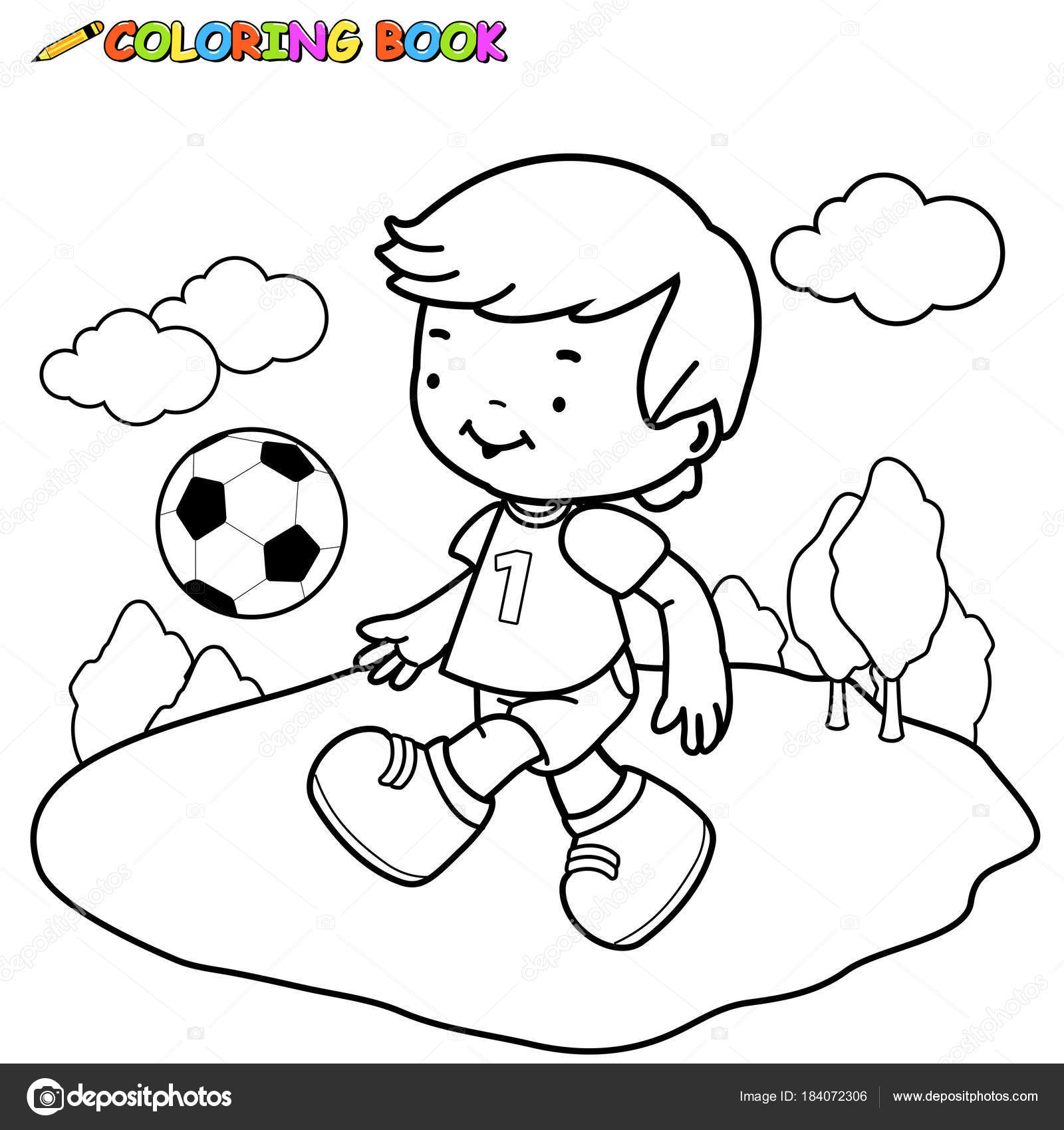 Child Playing Soccer Coloring Book Page Stock Vector