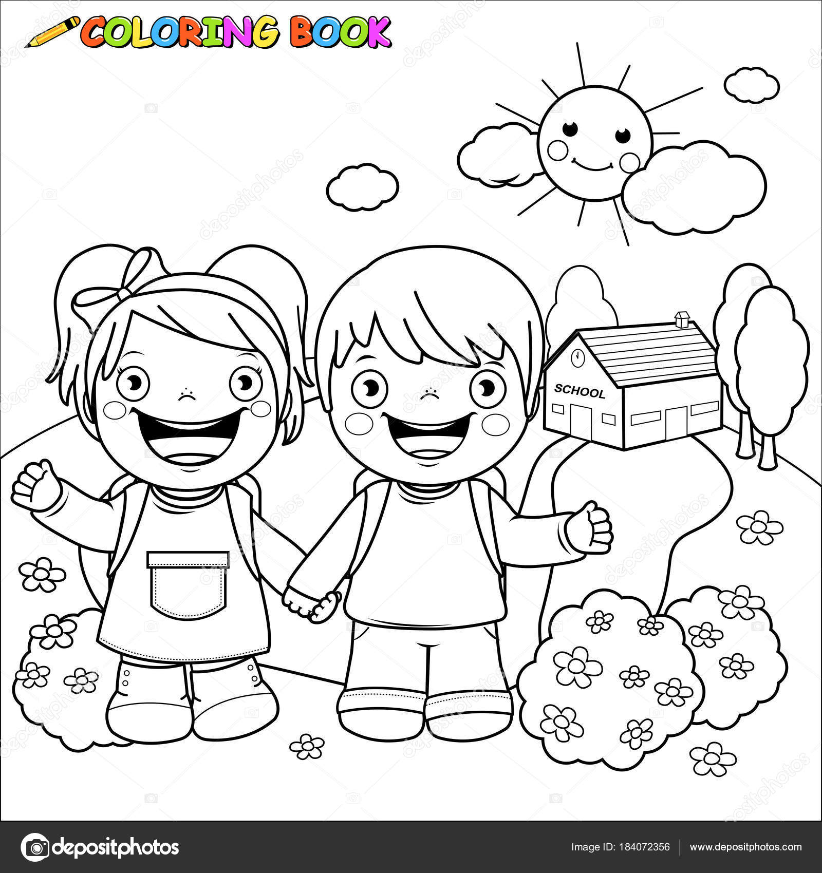 Niños en la escuela. Página de libro para colorear — Archivo ...