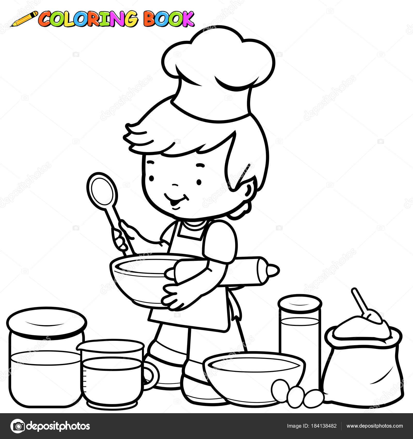 jongetje voorbereiden om te koken boek kleurplaat