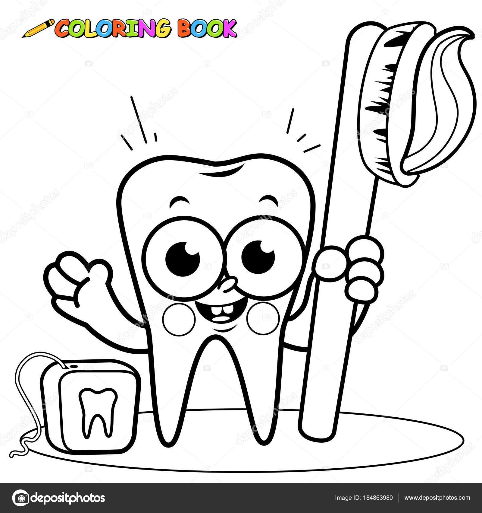 Personaje de dibujos animados sosteniendo el cepillo de dientes y ...