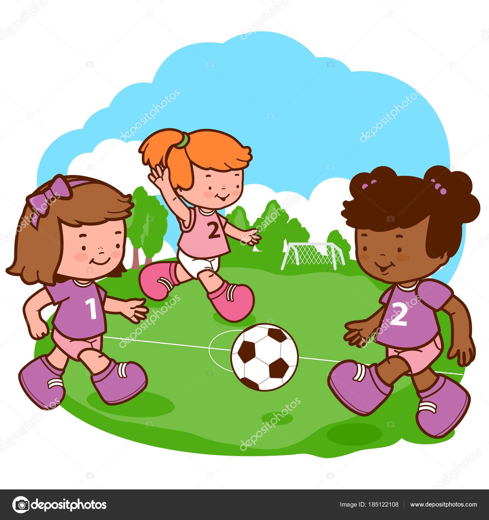 Dibujos Niñas Jugando Niñas Jugando Futbol Vector De Stock