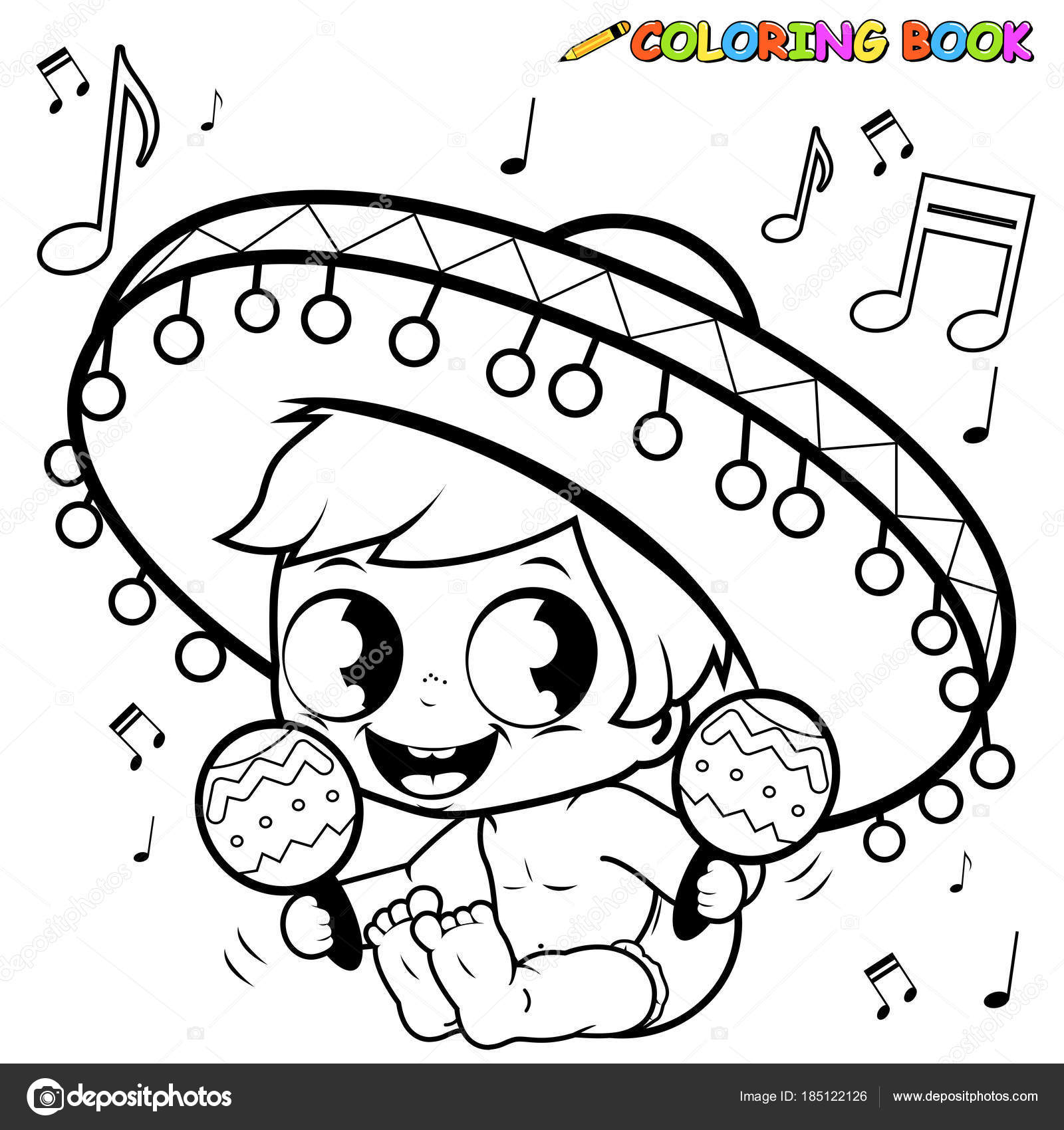 Mariachi Marakas Oynayan Erkek Bebek Boyama Sayfası Stok Vektör