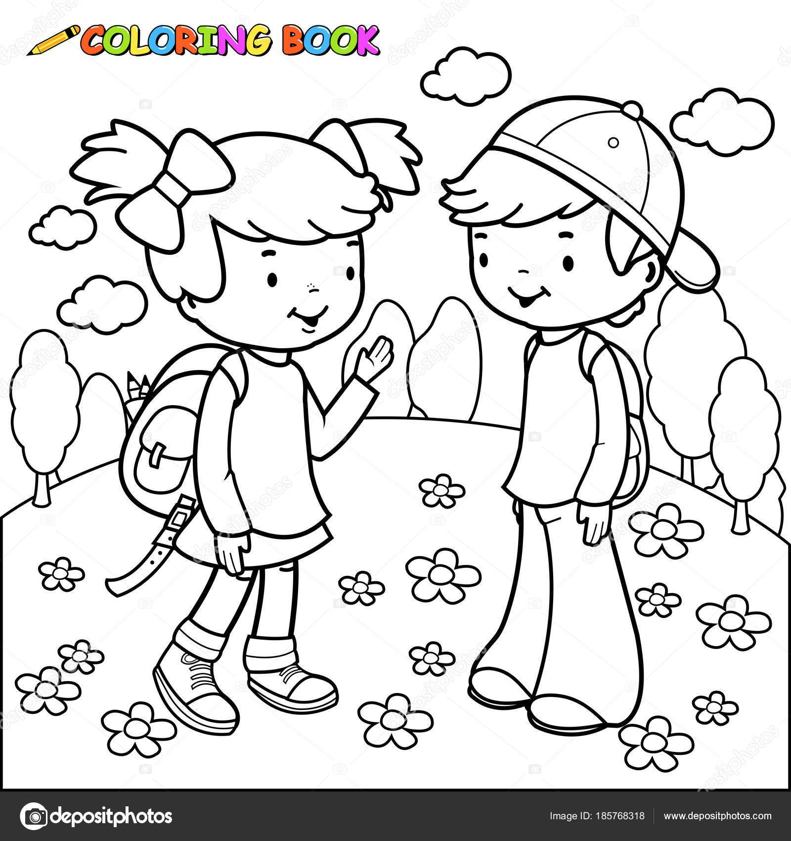 meisje en jongen studenten boek kleurplaat stockvector