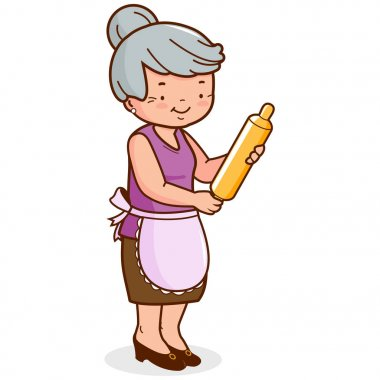 Grandma holding a rolling pin and cooking