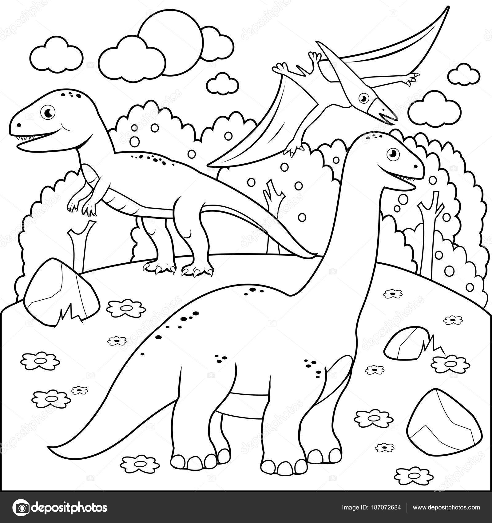 Paisaje prehistórico con los dinosaurios. Blanco y negro para ...