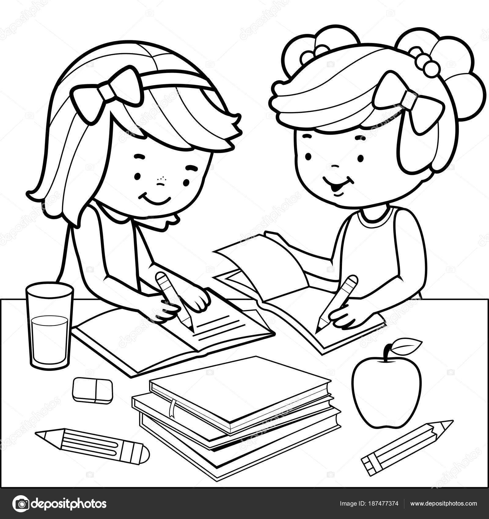 Estudiantes haciendo la tarea. Blanco y negro para colorear página ...
