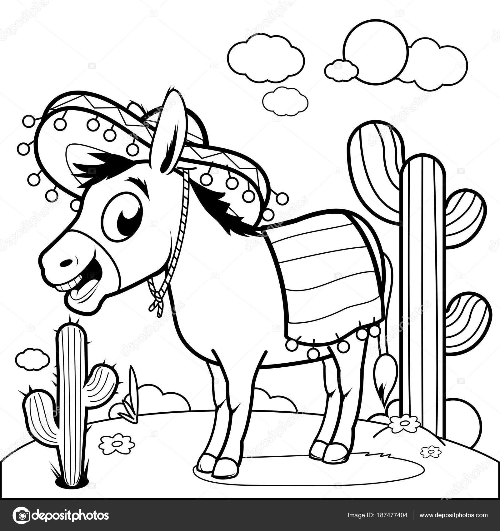 Mexicano burro en el desierto. Blanco y negro para colorear página ...