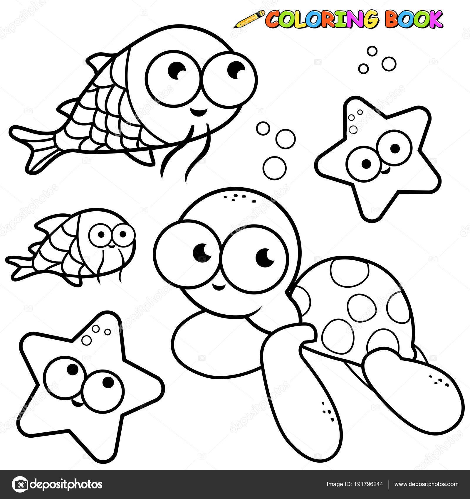Deniz Hayvanları Toplama Boyama Kitabı Sayfası Stok Vektör