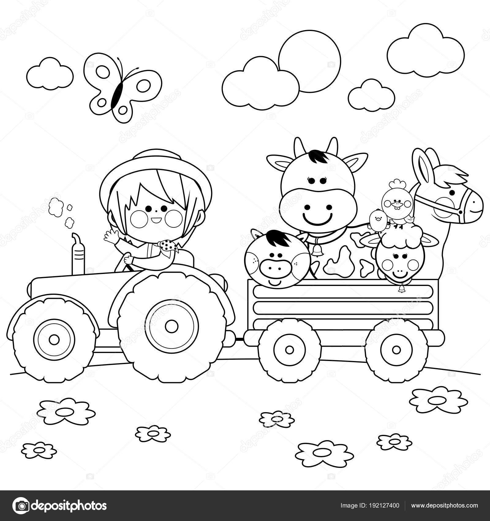 Bir Traktör Sürüş Ve çiftlik Hayvanları Taşıyan Bir çiftçi çocuk