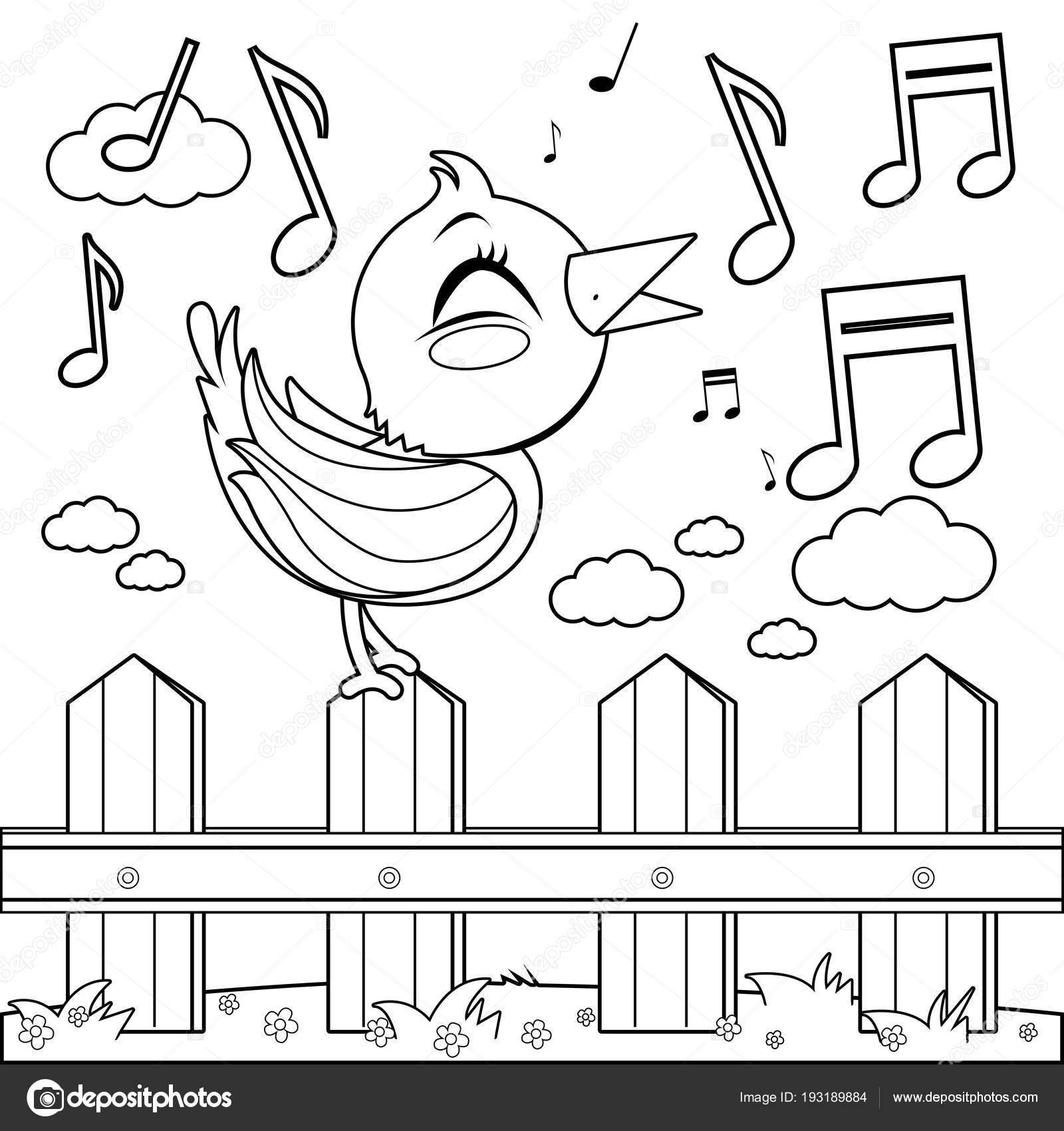 Vogel sitzt auf einem Zaun und singen. Coloring Book Seite ...