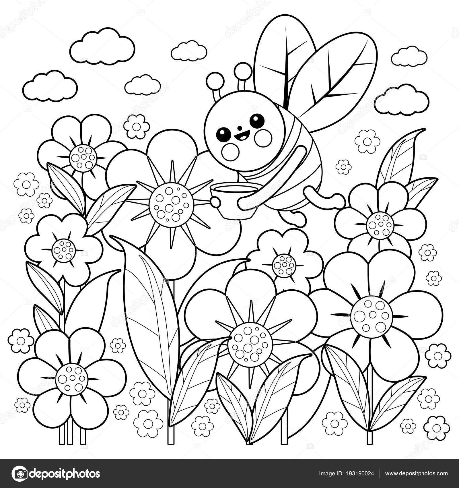 Arı Ve çiçekler Boyama Kitabı Sayfası Stok Vektör