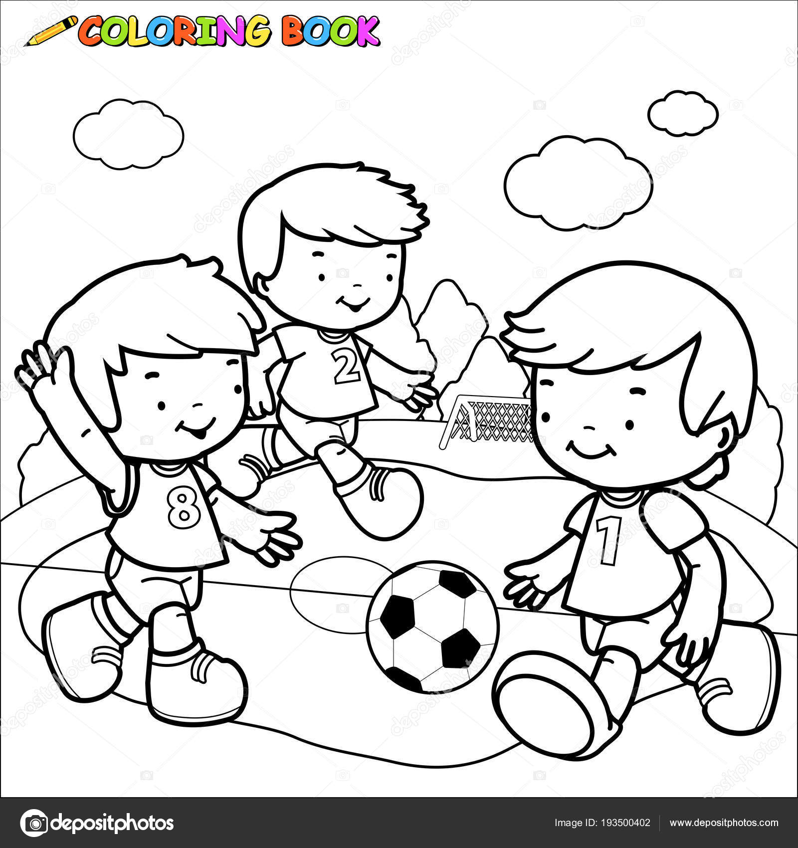 Children Playing Soccer Coloring Book Page Stock Vector
