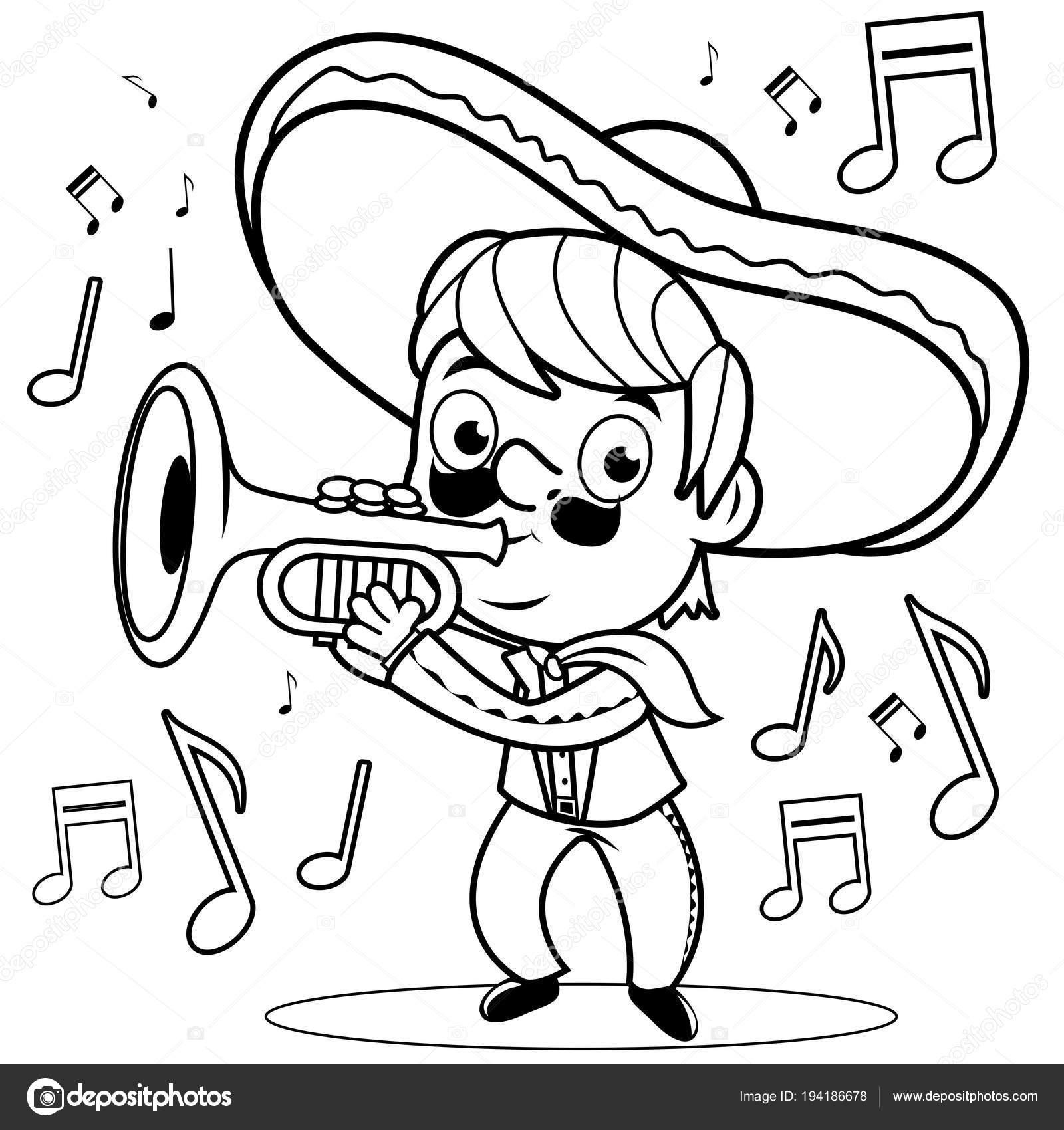 Meksikalı Mariachi Adam Trompet çalmaya Siyah Ve Beyaz Kitap Sayfa