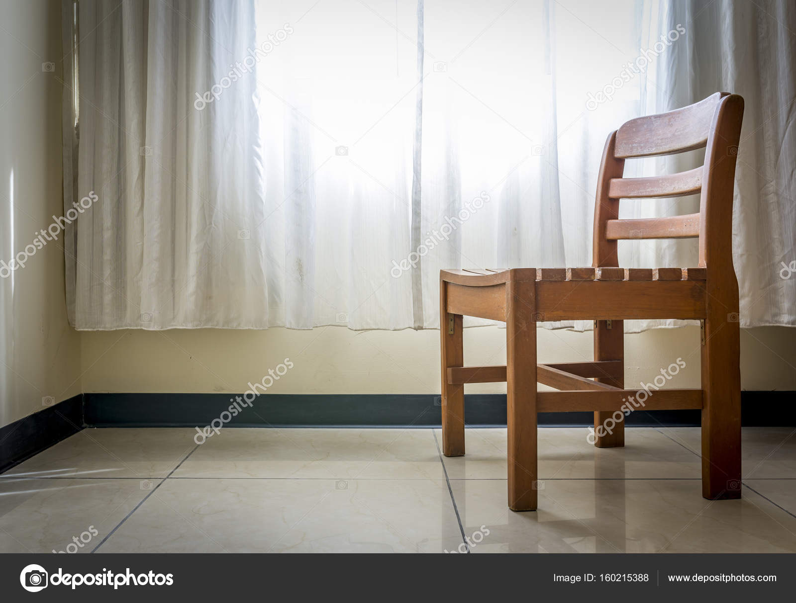 Lonely Wood Chair In Empty Room Stock Photo