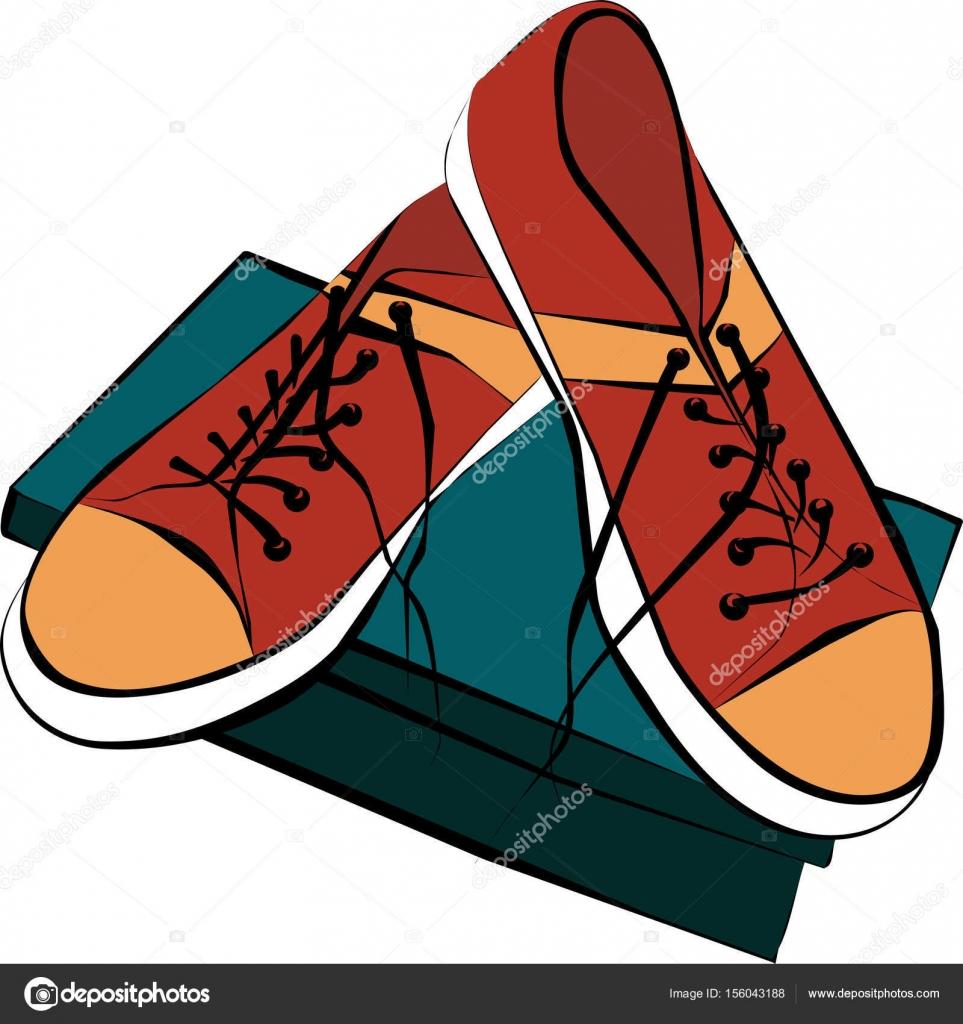 en rojo dibujo de Dibujo un color los caja de zapatos la de deportes par de de dibujos zapatos par situados oscuro wpBqx8pRX