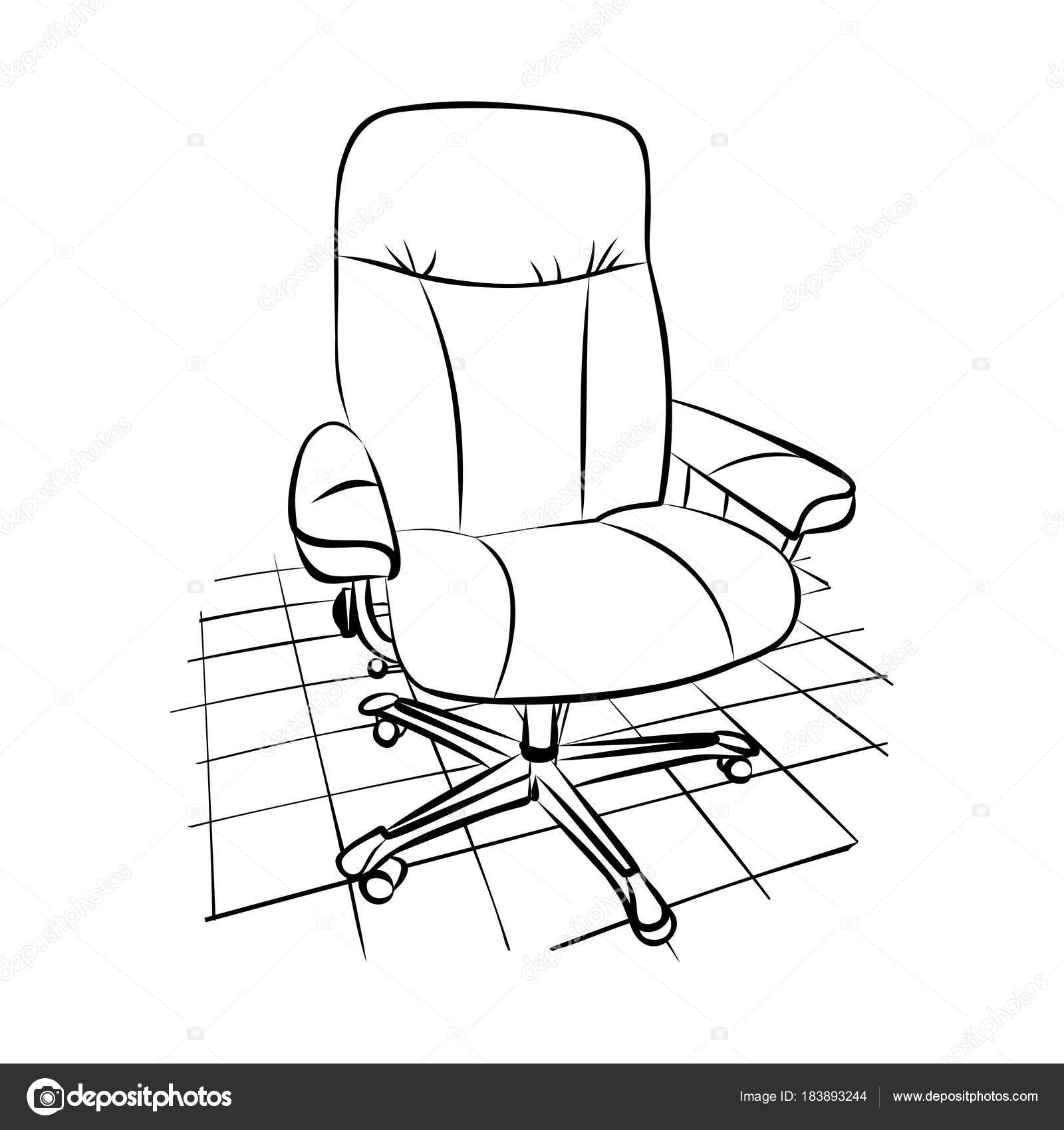 Graphisme Dessin Dune Chaise De Bureau Sur Un Sol Carrele Illustration Stock