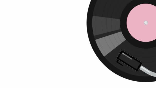 Videomaterial mit grafischer Animation rotierende Schallplatte in einer Ansicht von oben. Hintergrund zur Visualisierung klassischer Melodien
