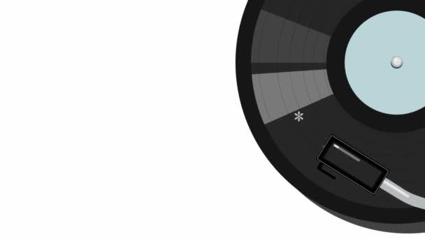 Videomaterial mit grafischer Animation, bei der sich die Schallplatte dreht und Schneeflocken unter der Pickup-Ansicht herausfliegen. Video-Visualisierung von Melodien für die Winterferien