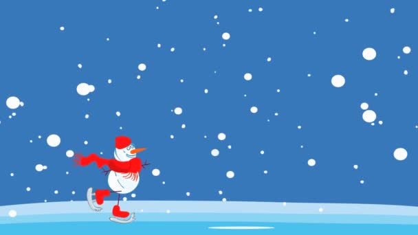 video záběry s grafickou animací, veselé sněhulák brusle v, sněžení, bezešvé smyčky, alfa kanál. zimní sportovní aktivity