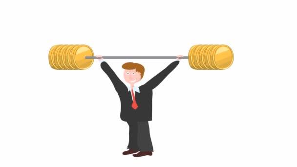 Grafikanimation c Manager, der eine Langhantel mit einem großen Gewicht von Goldmünzen hebt. Verfechter des aktiven Verkaufs