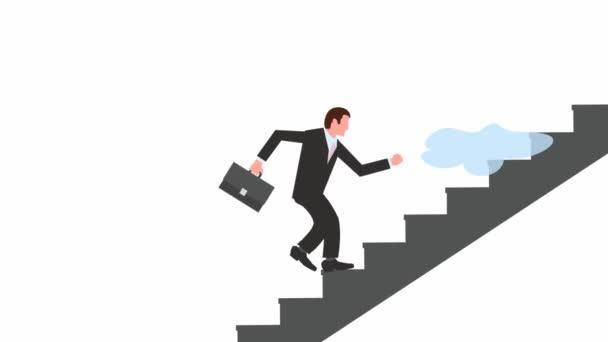 grafický animační manažer s aktovkou stoupá po schodech na pozadí letících mraků. nekonečný růst kariéry