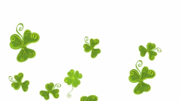 grafická animace s padajícími zelenými jetelovými listy. zachytit momenty štěstí