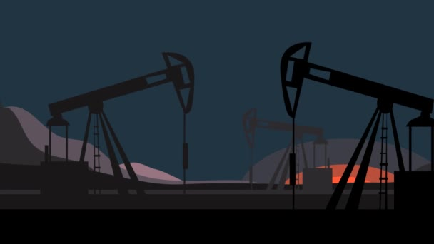 animation with the work of silhouettes of oil pumps rising and falling down on a sunset background. non-stop production of crude oil