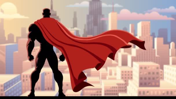 Looping animáció vigyáznak város szuperhős.