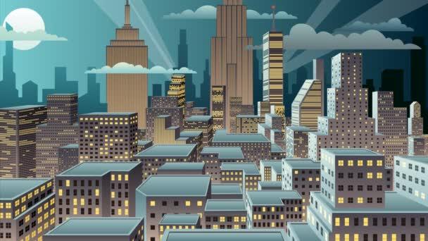 Panoráma města noc animace
