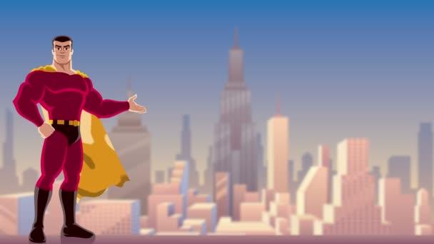 Presentazione di supereroe in città / animazione di sorridente supereroe che presenta il vostro testo o prodotto con paesaggio urbano come sfondo