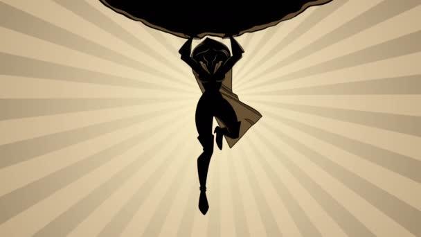Superheroine Holding Boulder sziluett