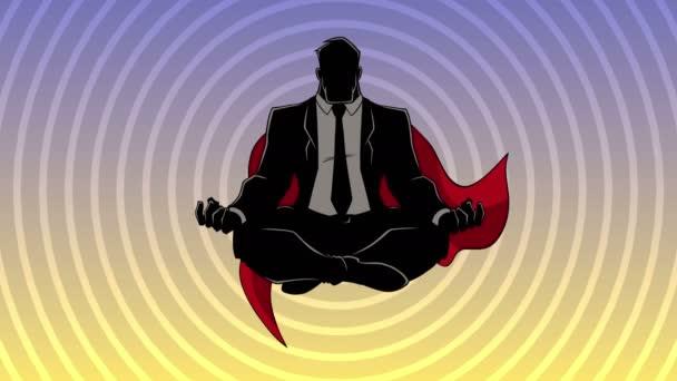 Szuper üzletember meditál háttér sziluett