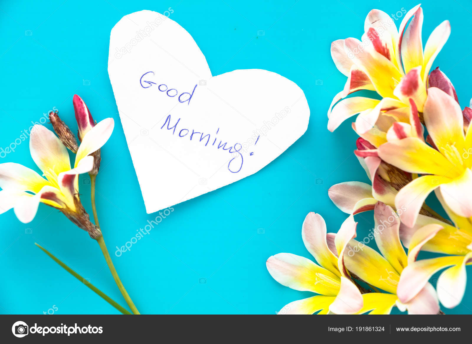 Note In Shape Of Heart With Words Good Morning With Flowers On Blue