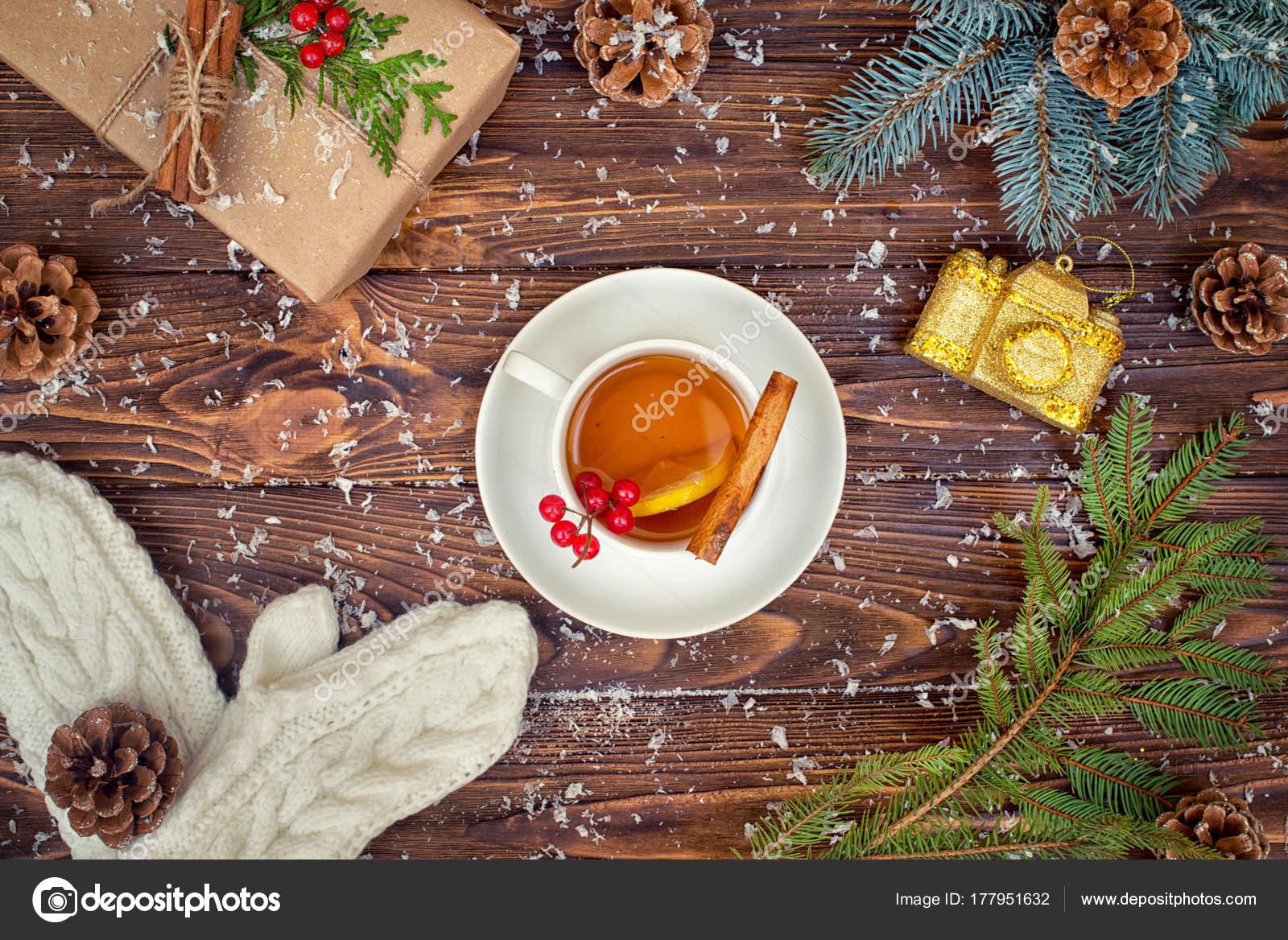 Wooden Background Christmas Decorations Cup Hot Tea Lemon