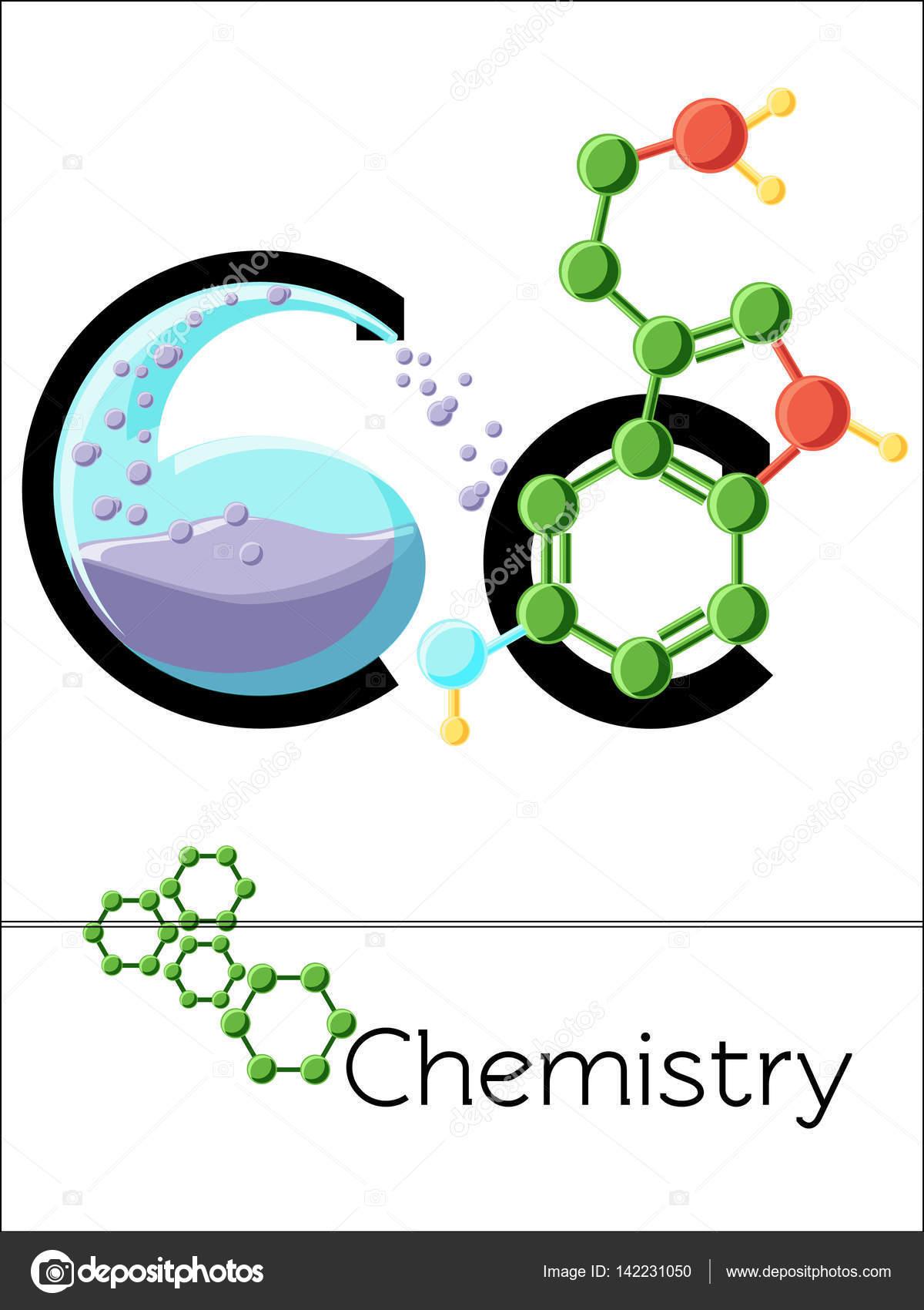 flashkarte buchstabe c ist f252r chemie � stockvektor