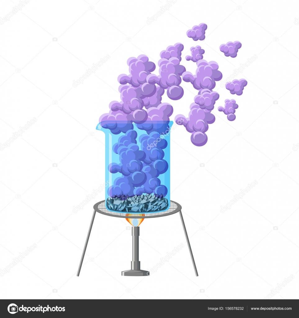 Exp rience chimique montrant chauffage b cher avec for Sublimacion progresiva