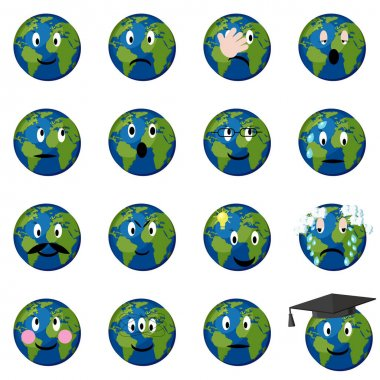 Planet earth emoticons set.