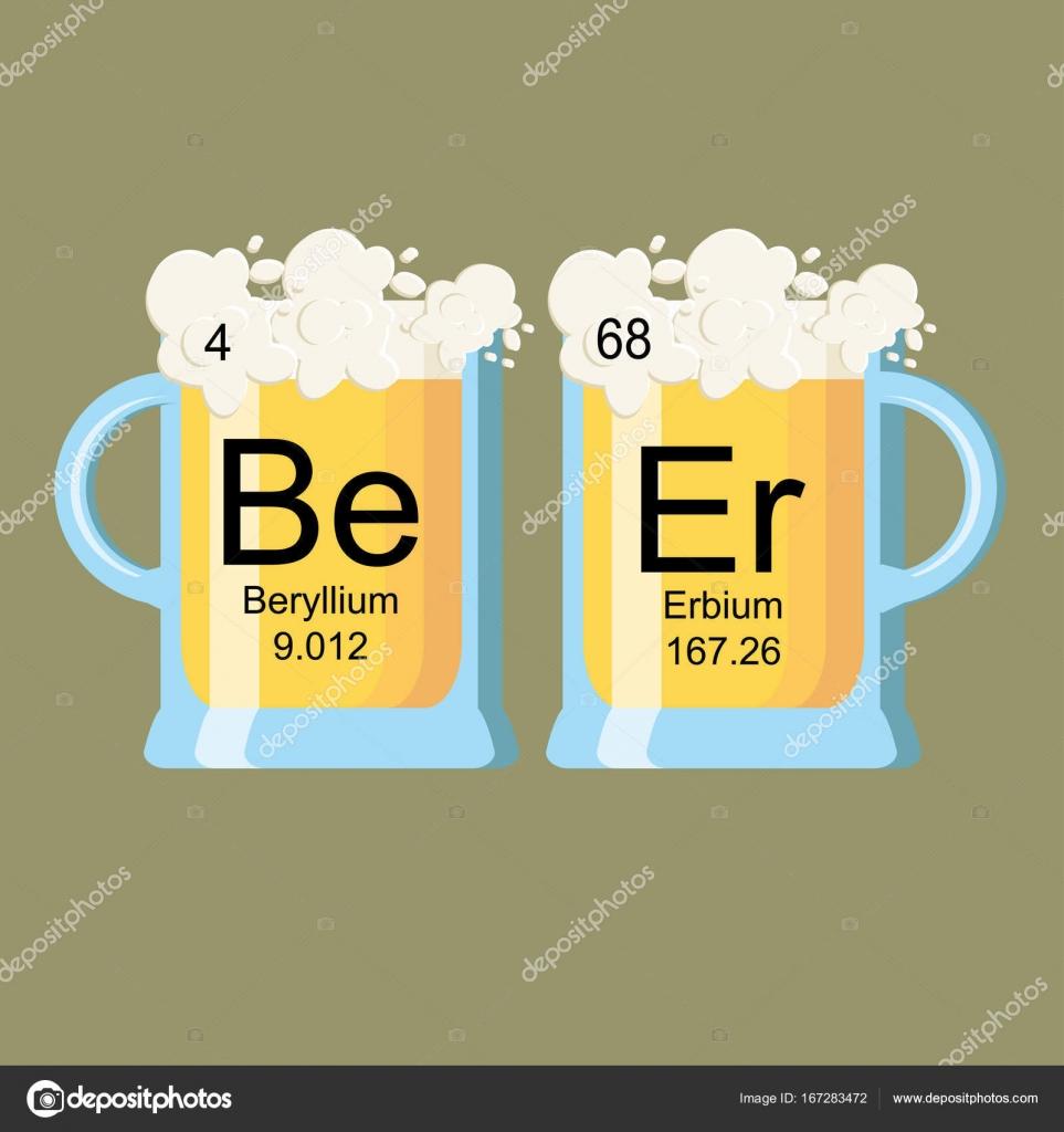 La palabra cerveza hecha de elementos qumicos berilio y erbio la palabra cerveza hecha de elementos qumicos berilio y erbio tabla periodica de la cerveza dos vasos de cerveza ilustracin de vector vector de urtaz Image collections