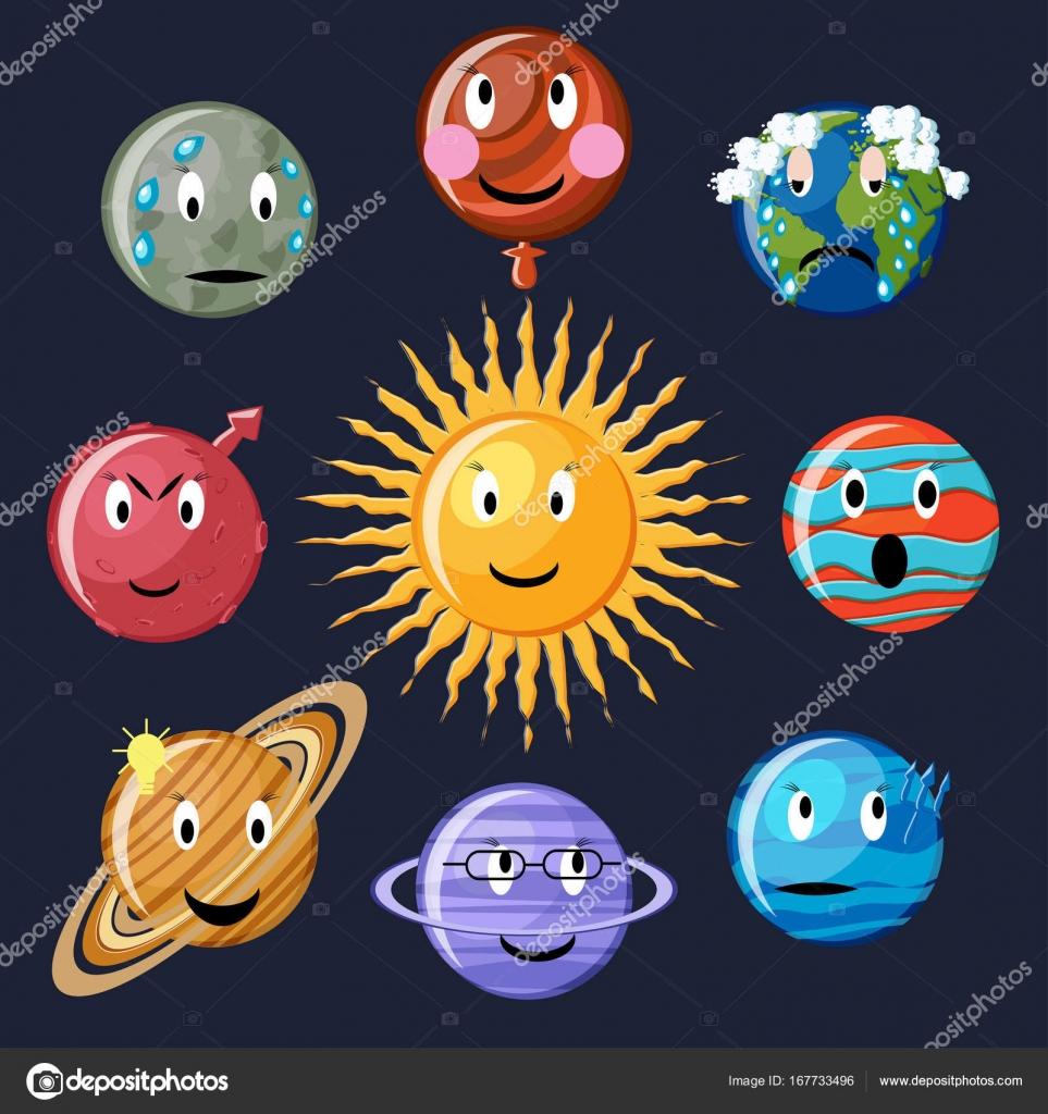 смайлик планета набор смайликов планет векторное