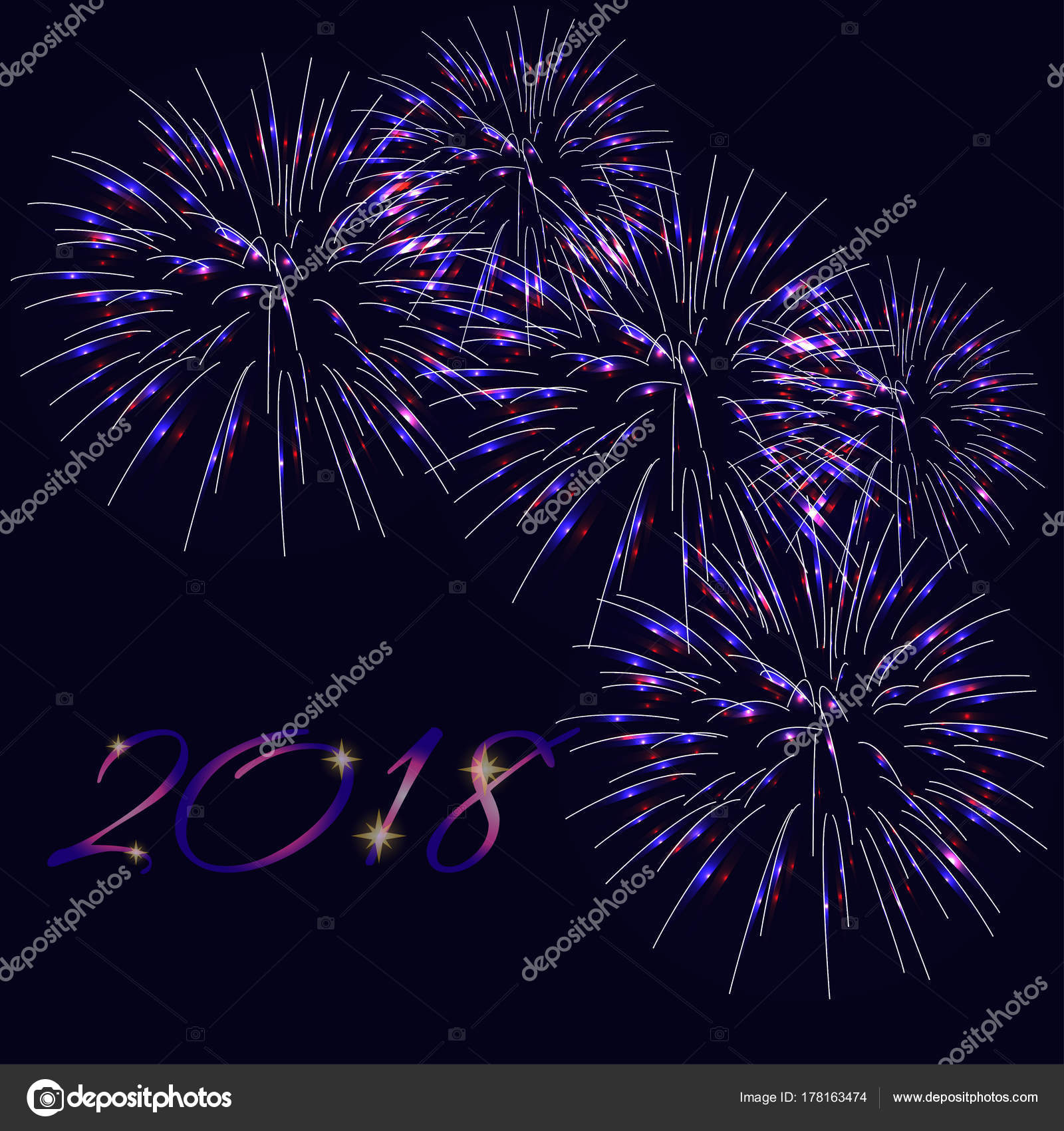 happy new year 2018 greeting card template with text and bright fireworks on dark blue background